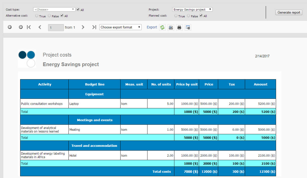 Project cost reports